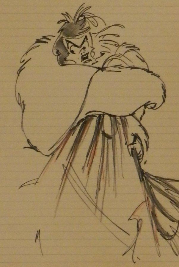 Cruella De Vil Character Sketch Signed Walt Disney - 2