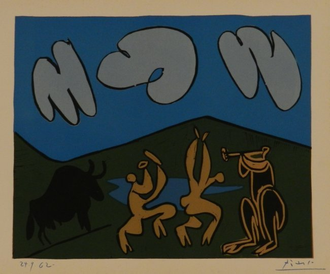 Pablo Picasso Hand Signed & Dated Linocut