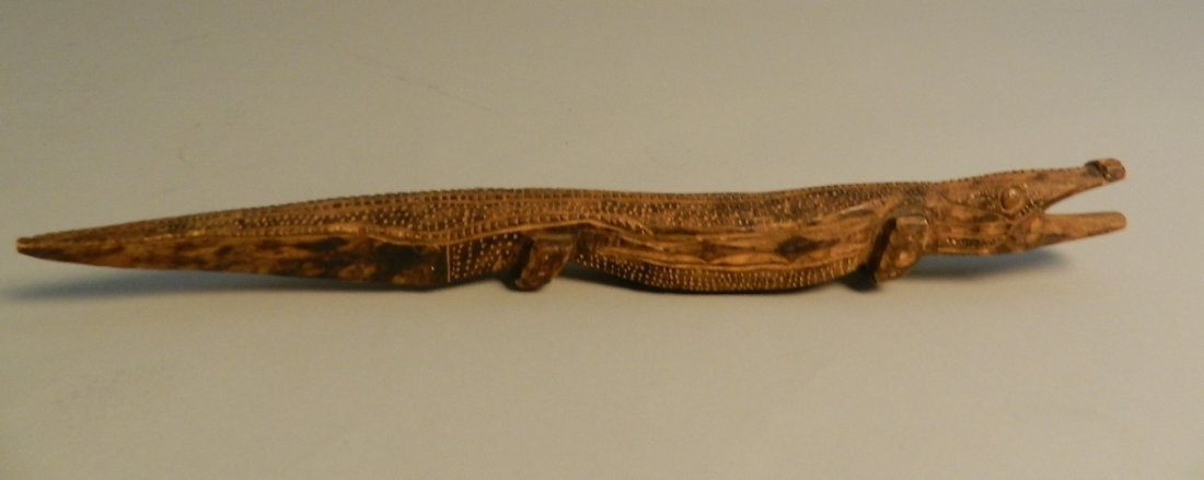 Vintage African Hand Carved Alligator - Artist Signed