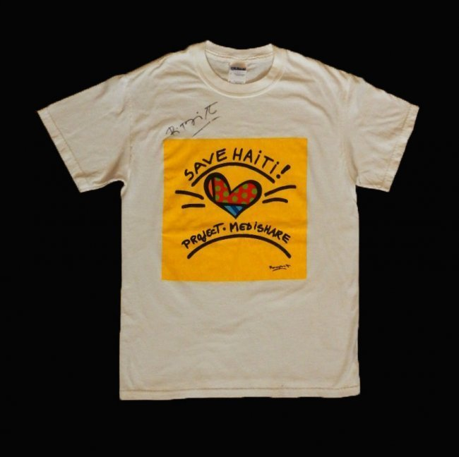 "Romero Britto ""Save Haiti"" T-shirt Hand Signed"