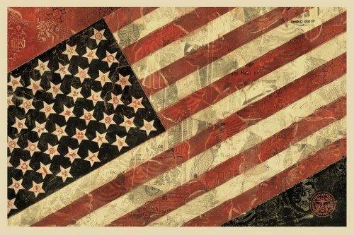"SHEPARD FAIREY AMERICAN B.1970 , ""Flag 1"""