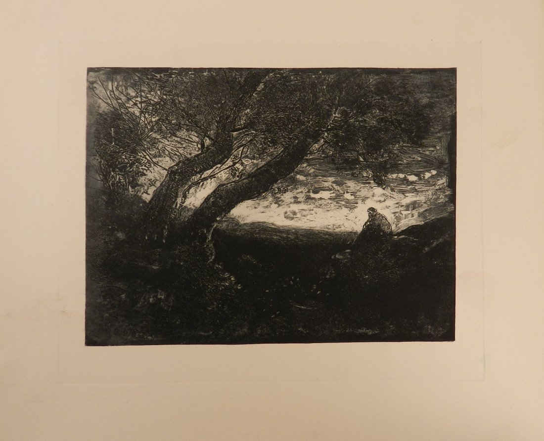 Antique Corot French Etching