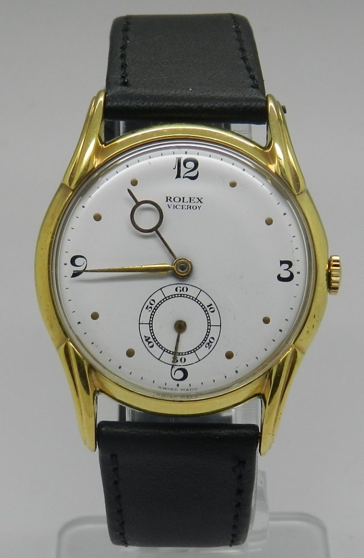 Rolex Viceroy Men's Black Leather Watch