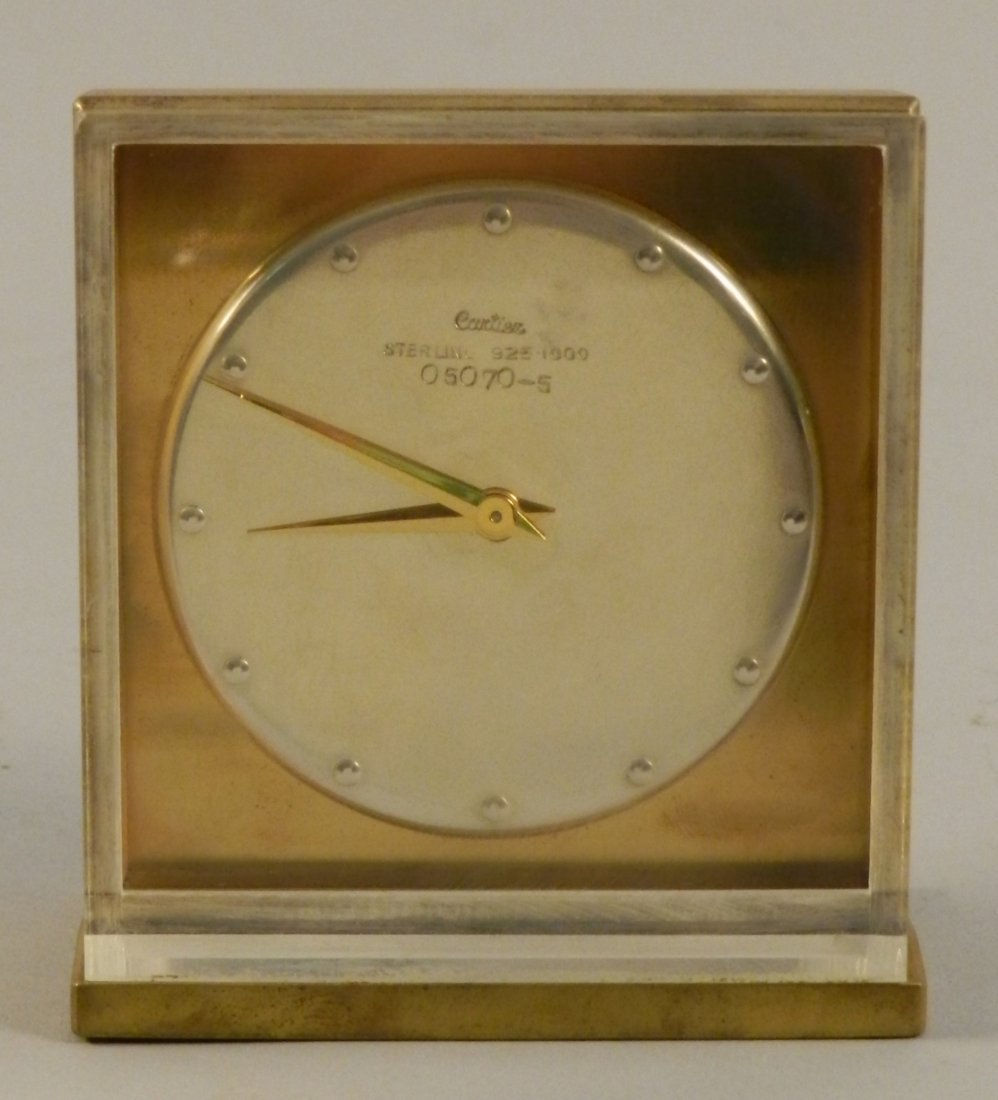 Cartier Sterling Silver Dial 15 Jewel Clock