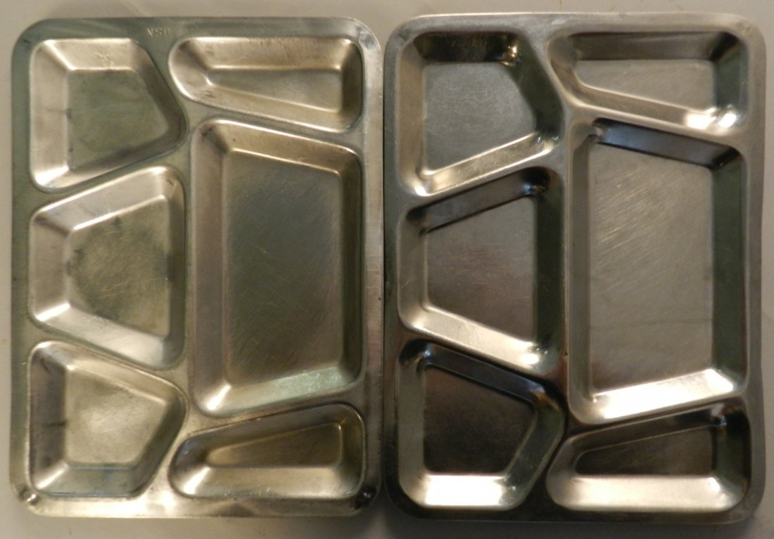 Lot of 2 Vintage US Navy Metal Lunch Trays
