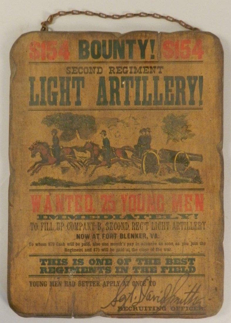 Antique Recruiting Second Regiment Virginia Sign
