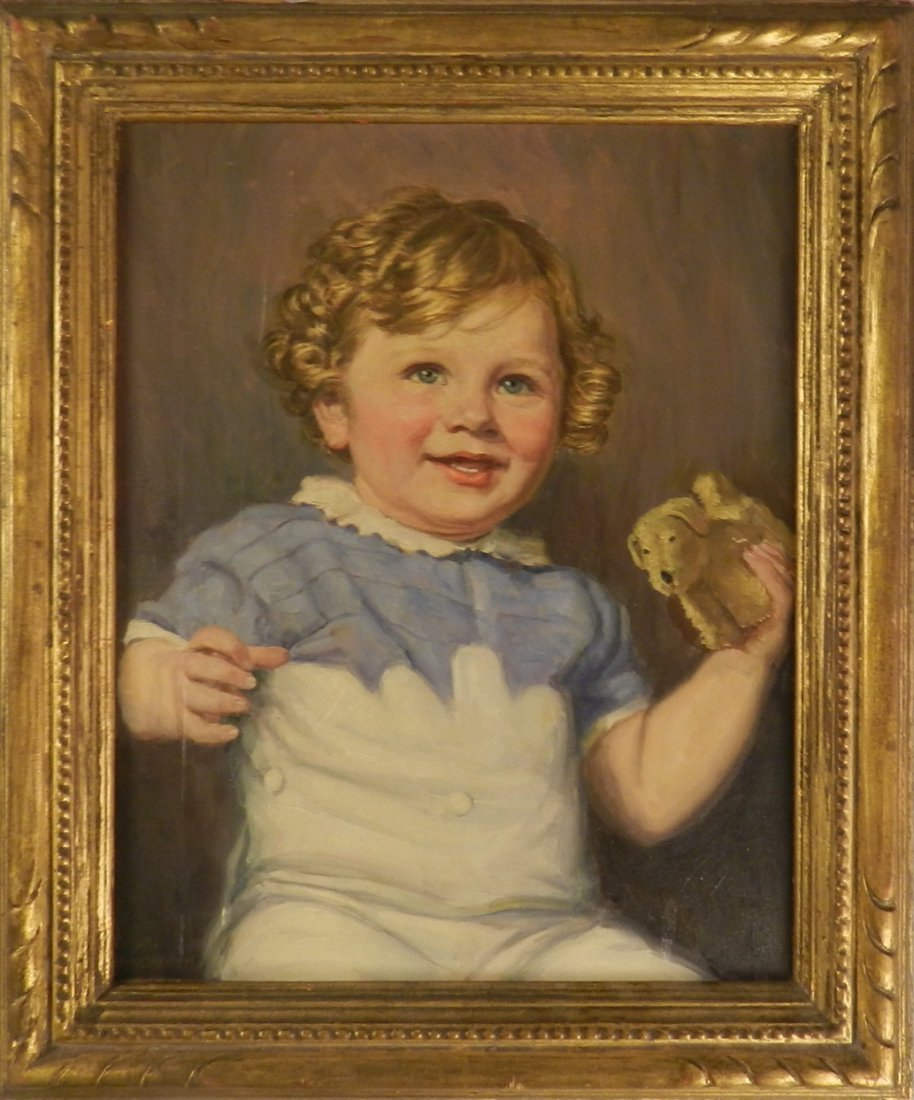 Vintage Portrait of a Girl Oil on Canvas