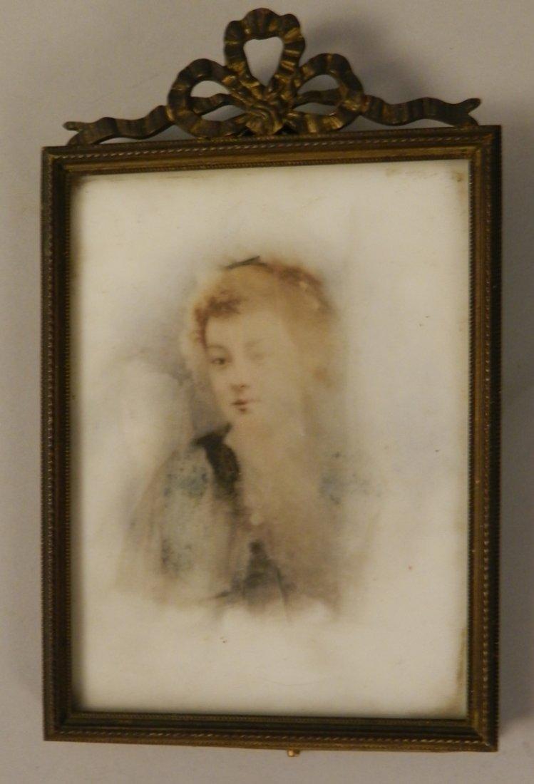 19th C. Porcelain Plaque Painted Portrait