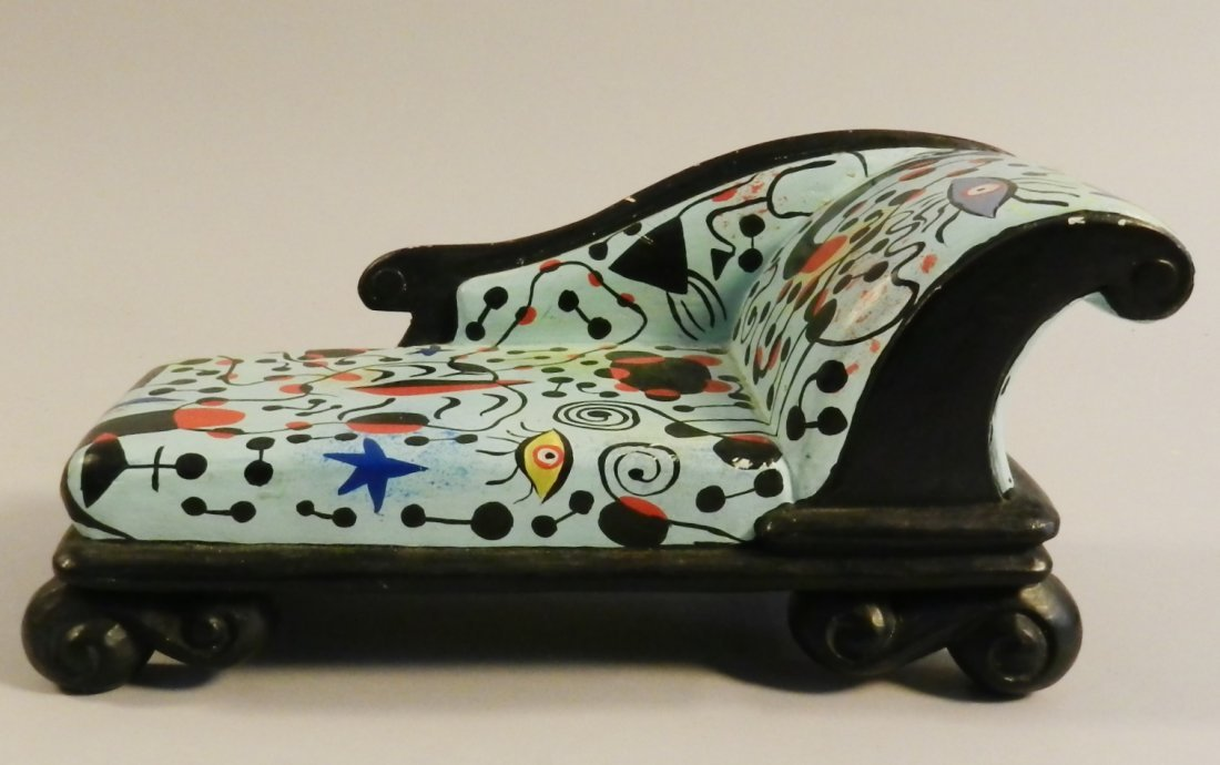 Joan Miro Style Hand Painted Wooden Small Scale Couch