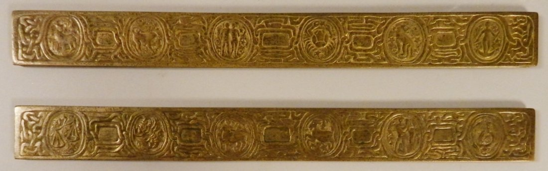 Pair of Tiffany Studios Zodiac Bronze Desk Blotters