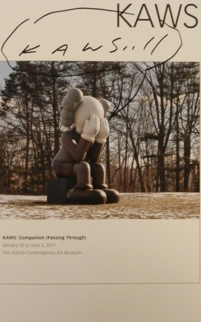 Kaws Hand Signed Sketch on Brochure