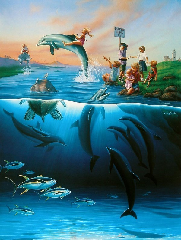 """Robert Wyland """"Dolphin Rides"""" Lithograph"""