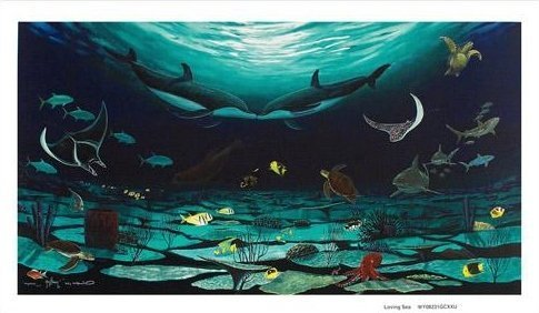 """Wyland """"Loving Sea"""" Giclee on Canvas Signed"""