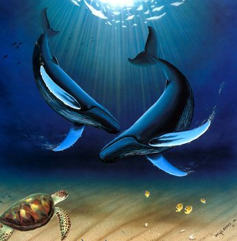 """Robert Wyland """"In the company of whales""""  Lithograph"""