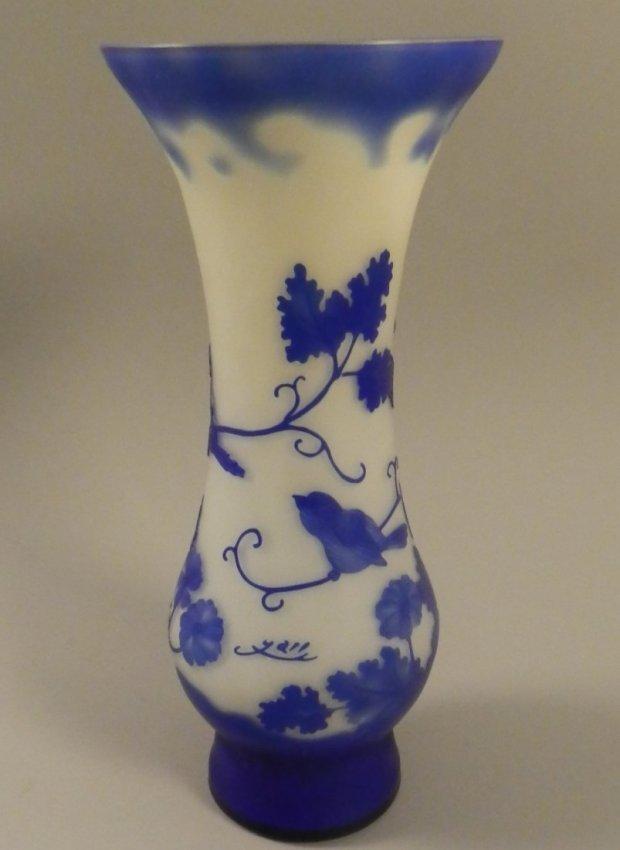 Large Art Nouveau Galle style cameo glass vase