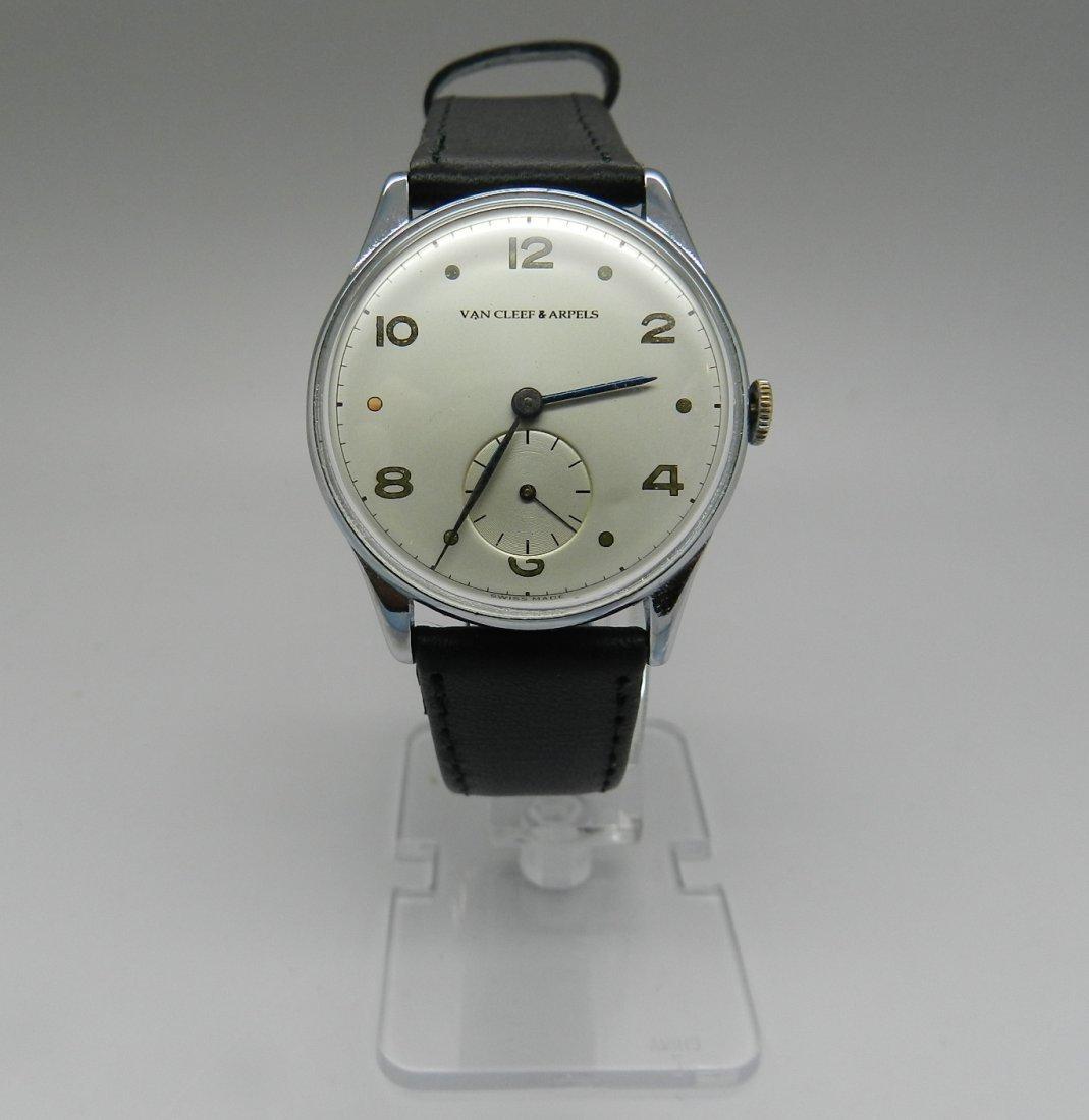 Men's Van Cleef Black Leather Watch