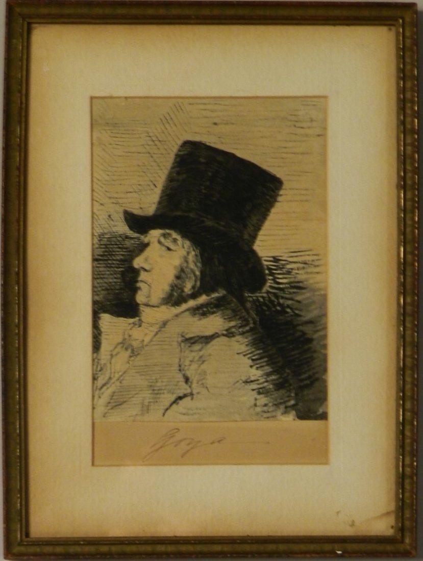 Important Signed Francisco Goya Spanish Ink Drawing