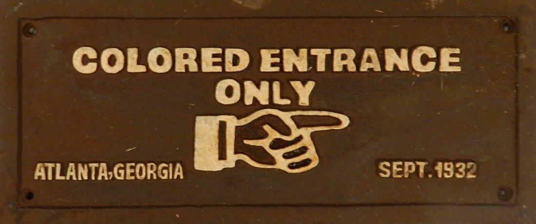 Cast Iron Black Segregation Sign