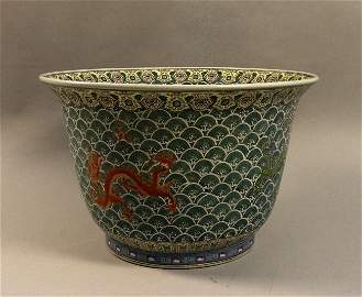 Fine Large Chinese Dragon Motif Fish Bowl