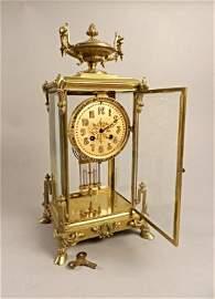 Fine Tiffany & Co Bronze Gilt Champleve Clock