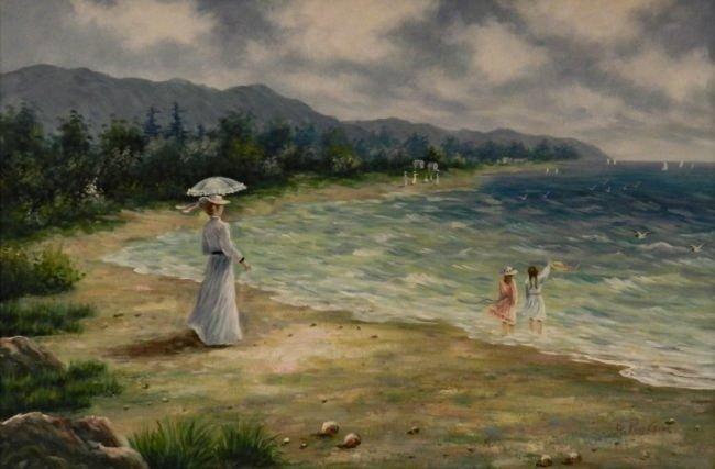 Vintage Impressionist Beach Oil Painting