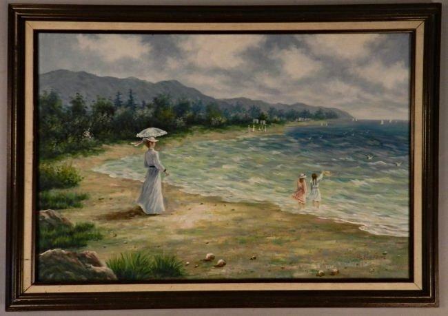 Vintage Impressionist Beach Oil Painting - 2
