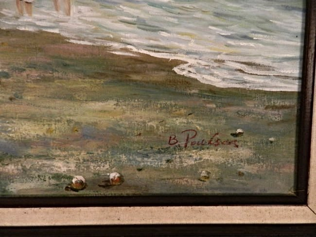 Vintage Impressionist Beach Oil Painting - 3
