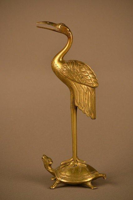 23: Brass Crane Figurine