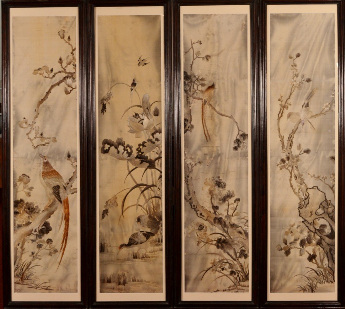 86: 19c Chinese (4) Silk Embroidery Panels.