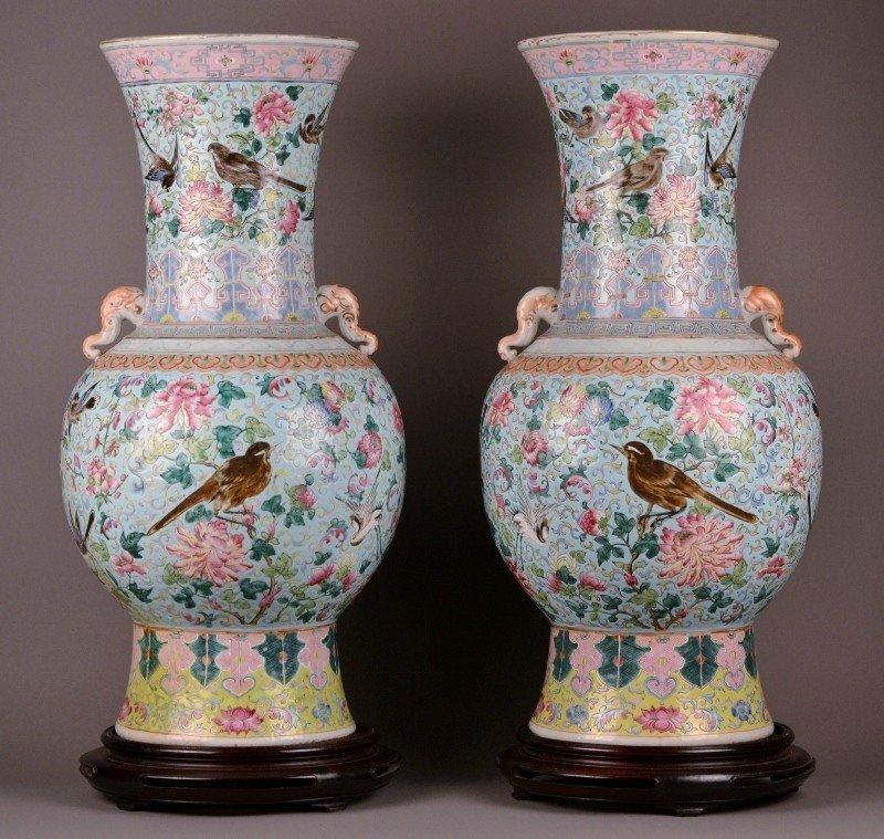 90: 19c Famille Rose Vase pair