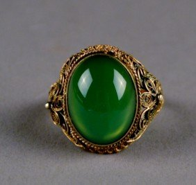 192: Chinese Green Stoned Ring