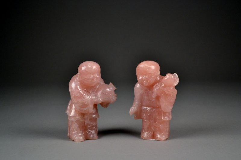4: Pair of Nicely Carved Rose Quartz Boys.