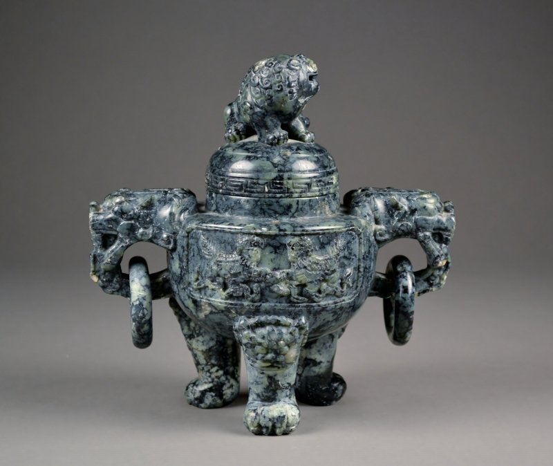 8: Finely Carved 3 footed Incense Burner.  Foo Dog Lid,