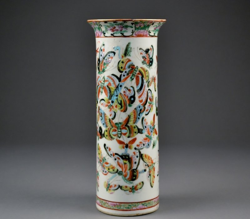 9: 19C Porcelain Trumpet Vase beautifully painted with