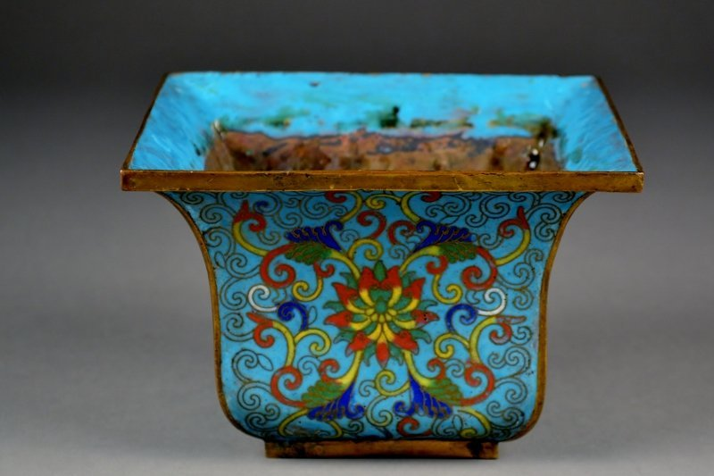 10: Chinese Cloisonne Planter.  Brightly Colored, Yello