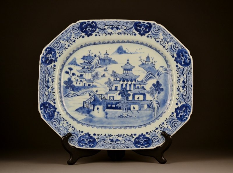 13: 18C Chinese Blue & White Porcelain Platter.