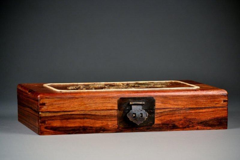 27: Huang Hua Li Rectangular Box, w/ Mother of Pearl &