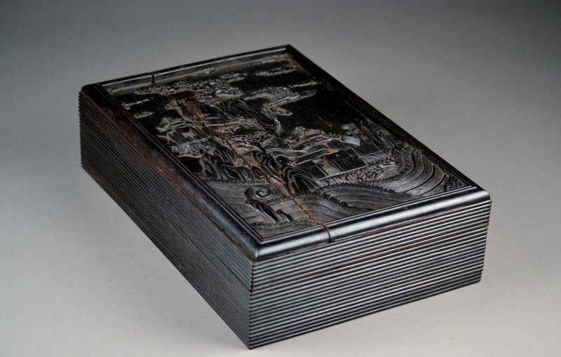 28: Chinese Zitan Deeply Carved Wooden Box.  Great deta