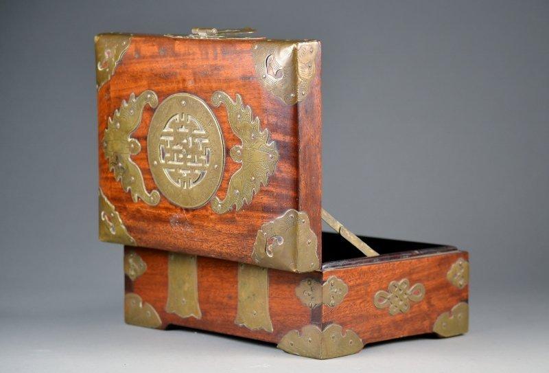 29: Chinese Fruitwood & Adorned Brass Box.  Beautiful P