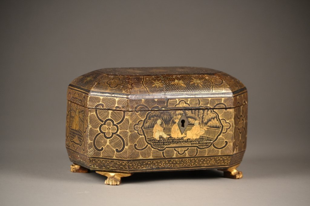 31:18c -19c Chinese Wooden and Highly Decorated Footed
