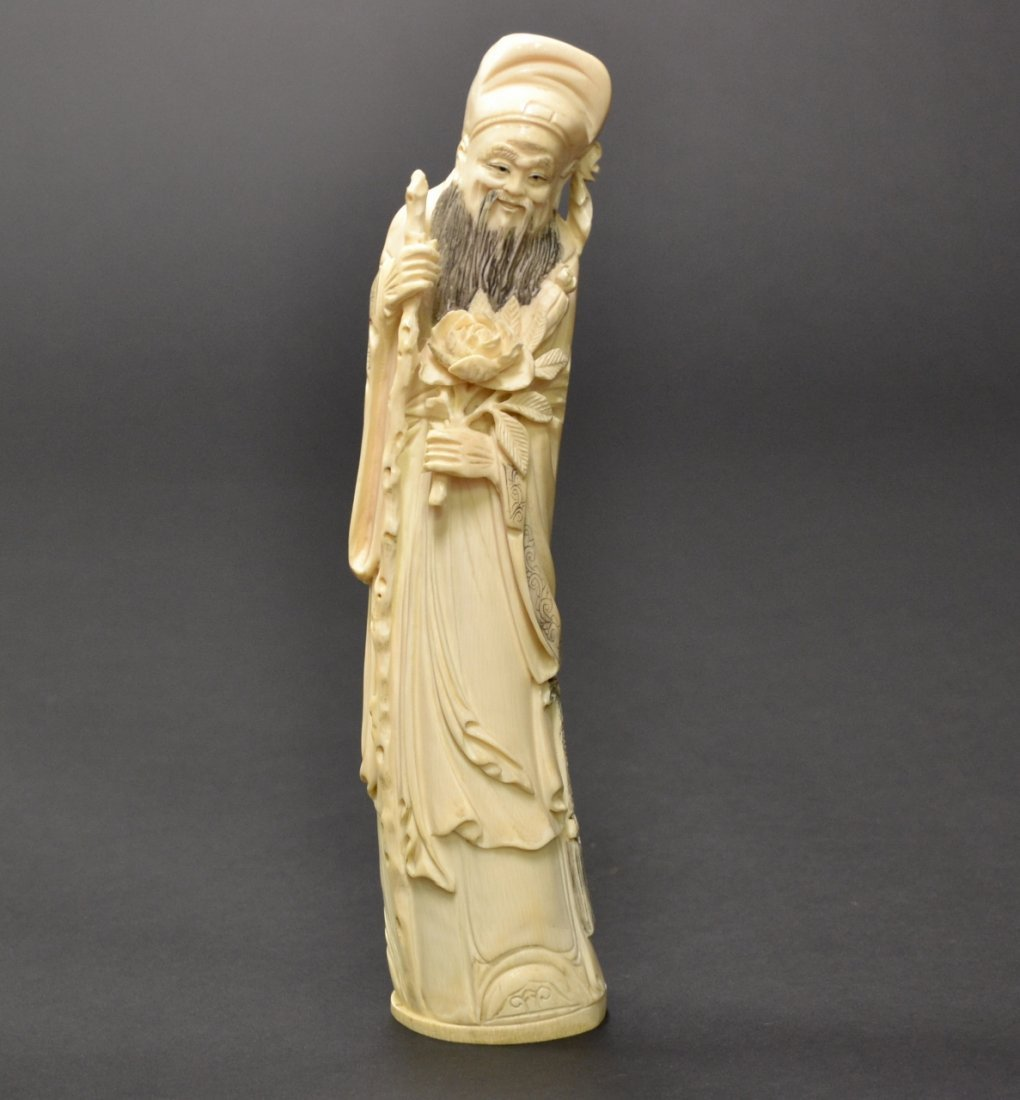 32: Chinese Ivory Carving of a Wiseman. Signed.