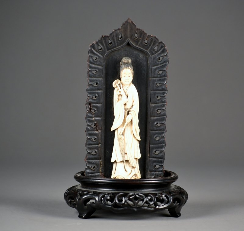 34: Ivory Carving of Guan Yin on a beautifully carved