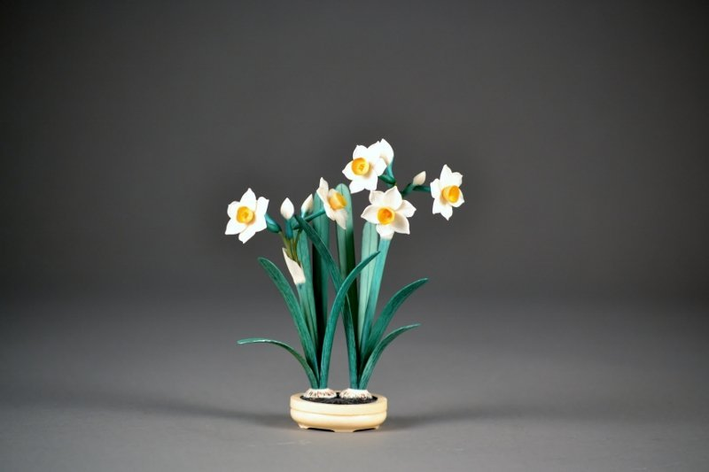 35: Beautiful Polychromed Ivory Flowers in pot.  Outsta