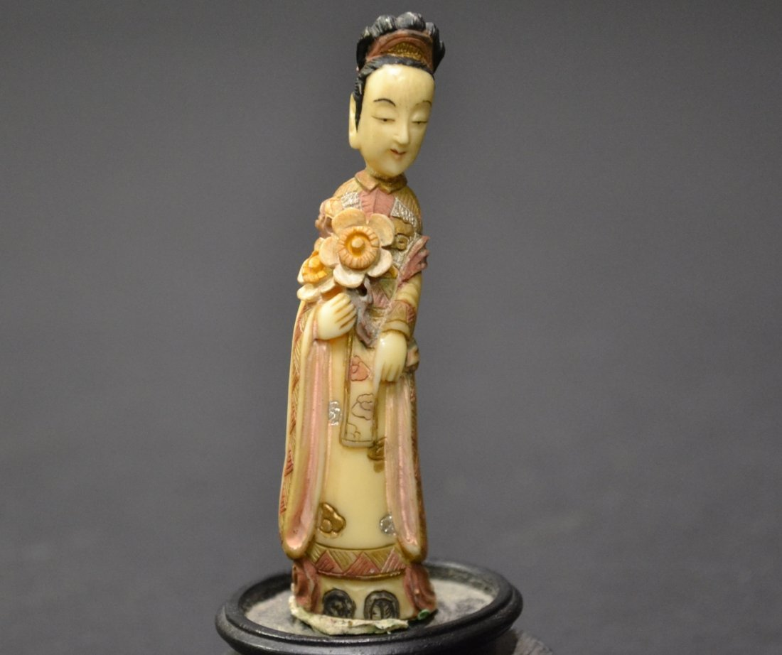 36: Beautiful Ivory Carving of Robed Lady holding Flowe