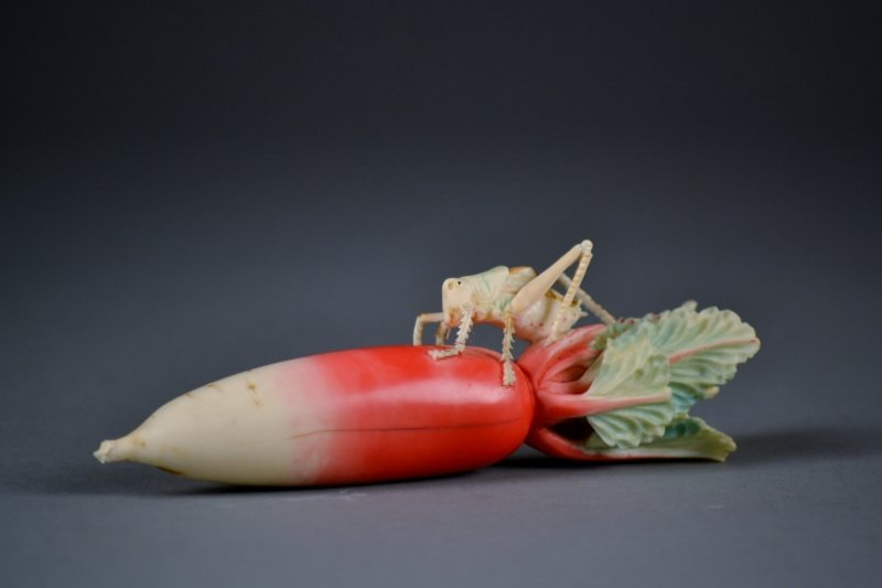 37: Outstandingly Carved Polychrome Ivory Radish w/ Fin