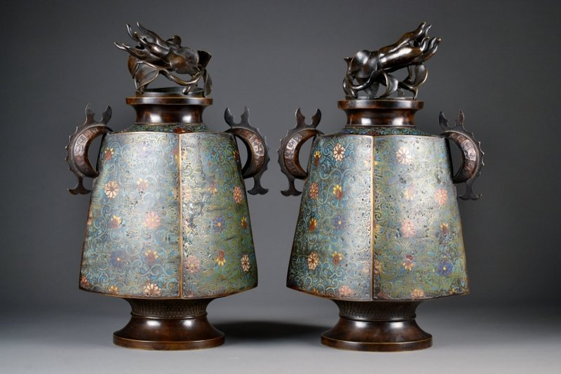 40: Pair of Archaic formed Cloisonne Vases w/ Buddah's