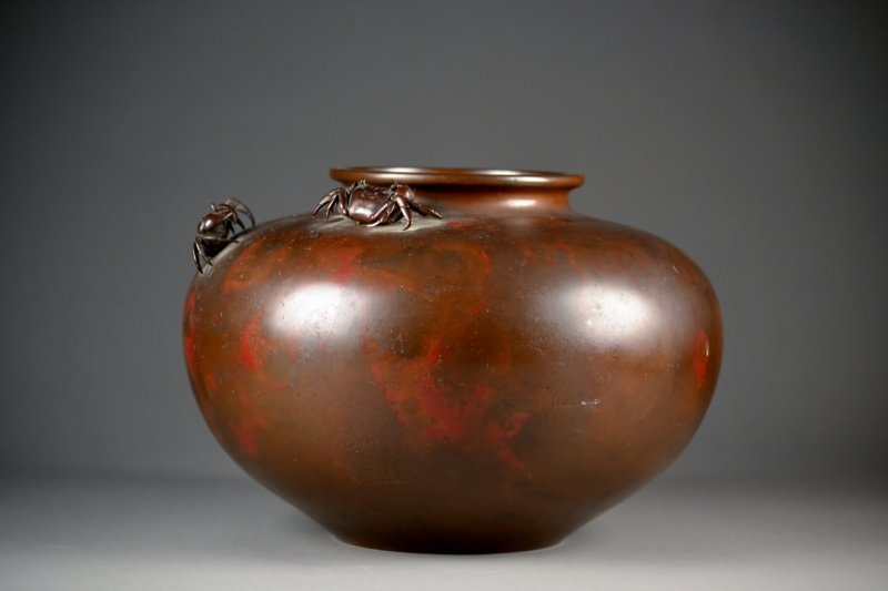 42: Japanese Patinated Circular Vase, ca. 1890, Flatten