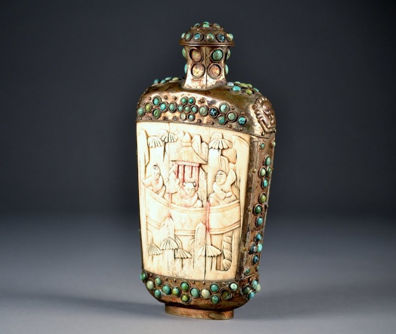 46: Carved Bone Snuff Bottle w/ Inlayed Turquoise Stone