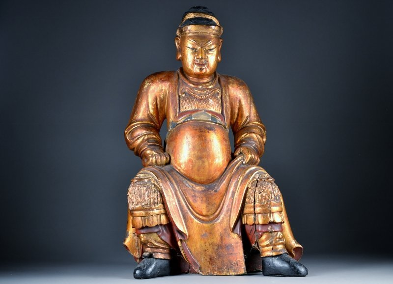 50: Heavily Carved Wooden Seated Figure