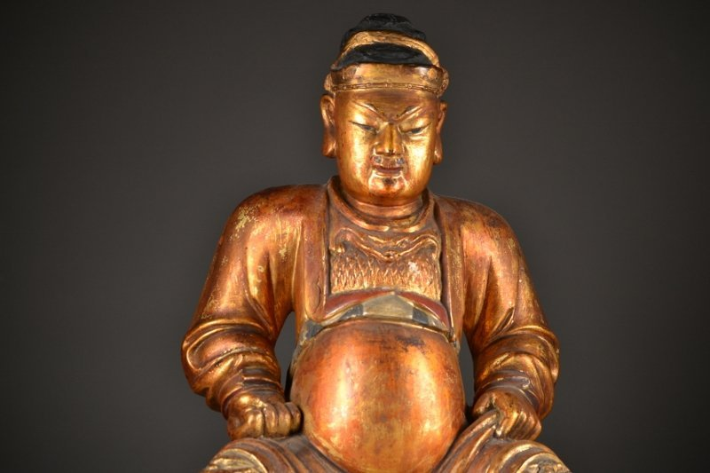 50: Heavily Carved Wooden Seated Figure - 2